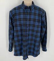 Pendleton Men's Fireside Flannel Shirt Large Long Sleeve Wool Blue Plaid Button
