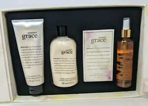 New Philosophy Summer Grace Body Scrub Shower Gel Spray Mist 4 pc Gift Set BB21