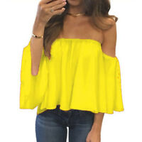 Off-shoulder Shirt Womens Chiffon Loose Tops Summer Flare Sleeve Blouse T-shirt