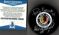 BECKETT-BAS PHIL & TONY ESPOSITO AUTOGRAPHED-SIGNED CHICAGO BLACKHAWKS PUCK 6881