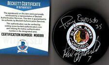 BECKETT-BAS PHIL & TONY ESPOSITO AUTOGRAPHED-SIGNED CHICAGO BLACKHAWKS PUCK 6881