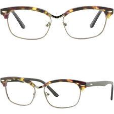 Women Girl Browline Frame Rectangular Acetate Glasses Spring Hinge Tortoiseshell