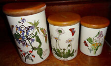 Portmeirion Botanic Garden 3 Pc Canister Set Woody Nightshade Daisy Lady Slipper