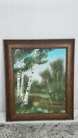 VTG Framed Original Painting Water Trees Forest Brush Green Blue Brown Landscape