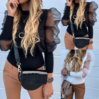 Women Ladies Puff Mesh Sleeve Tops Pullover Sweater Blouse Loose Jumper Shirt