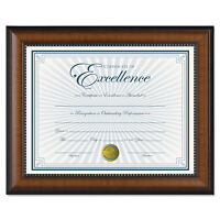 Dax Prestige Document Frame Walnut/Black Gold Accents Certificate 8 1/2 x 11