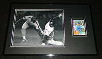 Brett Butler Signed Framed 11x17 Photo Display Braves Sliding
