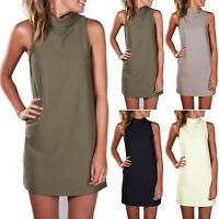 Womens Sleeveless Long Blouse Tops High Neck Summer Casual Mini Short Sun Dress