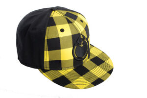 Nomis Simon Fitted Hat Baseball Cap Size 7 1/4 Yellow And Black Plaid New