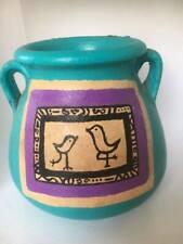 "Terracotta Jar Bowl Planter Earthenware pottery Hand Carved Decor Blue 4""x5"""