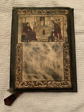 Vintage Italian Embossed Tooled Leather Book Cover 9X6 Detailed Scene