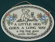 TRINITY Pottery Wall Plaque: A LITTLE HUG GOES A LONG WAY - Bear