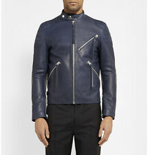 New Acne Oliver Leather Jacket Navy Blue 50 Medium $1600 sold out color