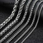 """Stainless Steel Silver Wheat Braided Chain Bracelet Necklace Mens Womens 8-30"""""""