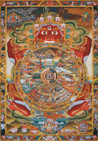 "50"" EMBROIDERED BROCADE SCROLL TIBET THANGKA: BHAVACHAKRA MANDALA WHEEL OF LIFE="