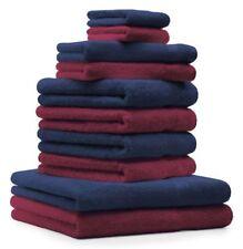 Betz lot de 10 serviettes Premium: rouge foncé & bleu foncé, 100% coton