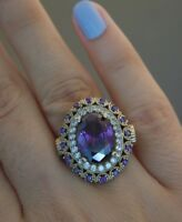 925 Sterling Silver Handmade Antique Turkish Amethyst Ladies Ring Size 7-9