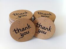 "ON SALE! 100PCS ""thank you"" DIY Kraft Brown Gift Paper Tags + Free Twines"