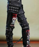 Mens Punk Leisure Pants Hot Gothic Printed Rivet Skull Long Slim Stylish Trouser