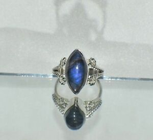 4.50 ct. NATURAL GENUINE BLUE FIRE LABRADORITE .925 STERLING  GYPSY RING