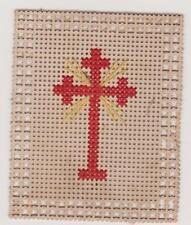 IMAGE PIEUSE HOLY CARD SANTINI CROIX BRODEE A LA MAIN - FIL ROUGE ET JAUNE