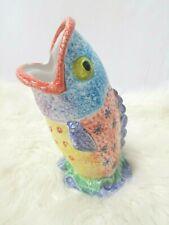 Italy Vietri Italica ARS Hand Painted Art Pottery FISH utencil holder/Vase