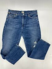 Citizens Of Humanity CARA High Rise Cigarette Ankle Jeans Ankara W/Leg Hole 30