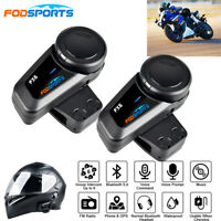 2x 1000M 6Riders 6Way Intercom Motorcycle Helmet Headset Bluetooth Interphone FM