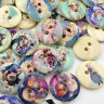 New 50/100pcs Little Girl Wood Buttons Sewing Craft Mix Lots 15mm WB168