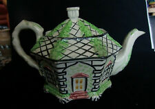 19th Century Staffordshire Cottage Majolica Teapot