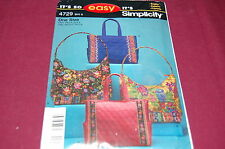 Simplicity Pattern # 4729 - Two Styles Quilted Handbags / Purse / Bag - NEW