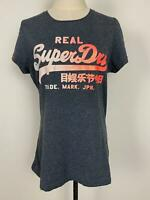 Vintage Superdry Women's Grey Pink Sparkle T-shirt Sz M A14 ~Free AU Post!