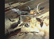 REPRINT PICTURE of print HALLOWEEN WITCH BAT CROW BROOM MOON 7x5