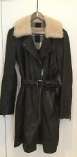 Burberry Black Zip Belted Lambskin Leather Shearling Trench Coat UK 12