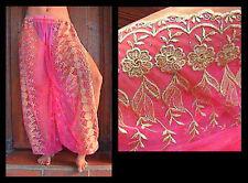 Harem Pants Belly Dance Fuchsia Pink w/ Gold Brocade Slit 9