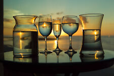 2017 16X20  PHOTO GLASS & PITCHERS SUNSET BEACH MARCO ISLAND TIGERTAIL BEACH FL.