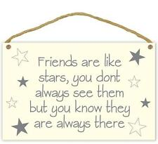 Friends Are Like Stars Plaque Lightweight Wooden Hanging Sign Shabby