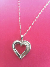 """Sterling Silver"" Heart Necklace 18"" Chain With Crystal Design - Used"