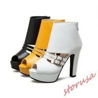 Womens Peep Toe Chunky High Heels Buckle Strap Ankle Sandals Boots summer shoes