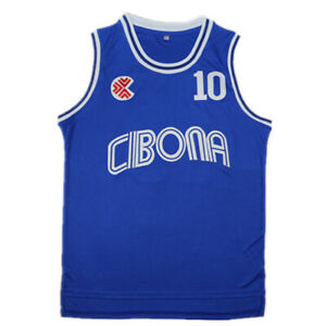 Drazen Petrovic #10 Croatia Cibona Men Basketball Jersey Stitched Blue S-XXXL