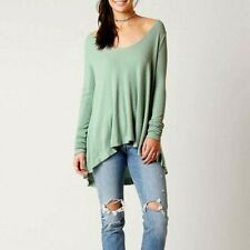 Free People Womens Top Size Small We the Free Malibu Green Thermal Scoop Neck