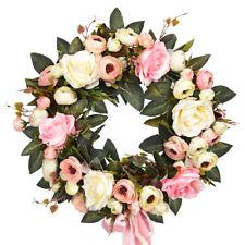 Artificial Rose Garland Silk Flower Wreath Hanging Ornament Rattan Wall Home Dec