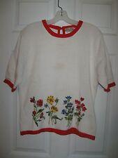 Susan Bristol Flower Garden Hand Knit Embroidered Pullover Sweater size Large