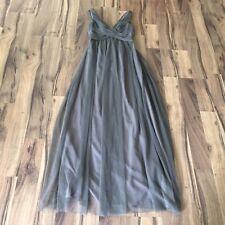 Anthropologie Hitherto Women Gray Fleur BHLDN Tulle Maxi Gown Dress Size 0