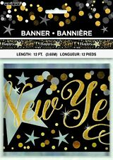 12ft Happy New Year Foil Banner Party Decoration Black Gold Silver New Years Eve
