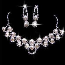Hochzeit Schmuckset Brautschmuck Perlen Collier Kette Ohrringe Kristall Mode NEU