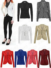LADIES WOMEN 5 BUTTON FRONT SLIM FIT OFFICE SMART BLAZER PONTE JACKET COAT 08-16