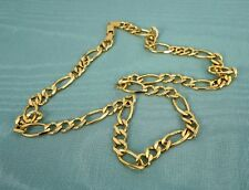 24'' Figaro Diamond Cut Link 43.1 Grams 14k Yellow Gold GS Italy 8mm Wide