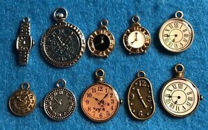 Watch Charm Clock Charm Time Charm Pocket Watch Antique Silver / Bronze Charms