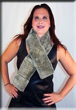 New Green Frost Sheared Rex Rabbit Fur Scarf - Efurs4less